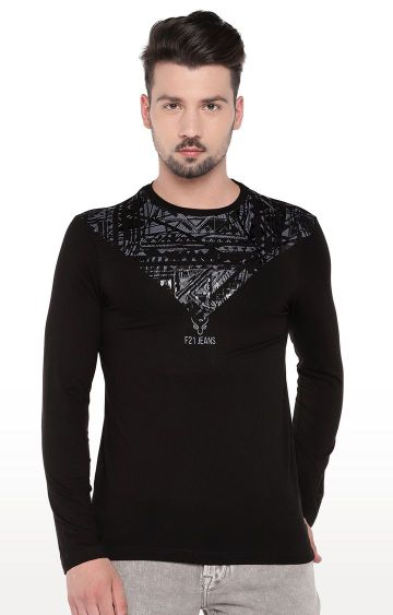 globus | Black Printed T-Shirt