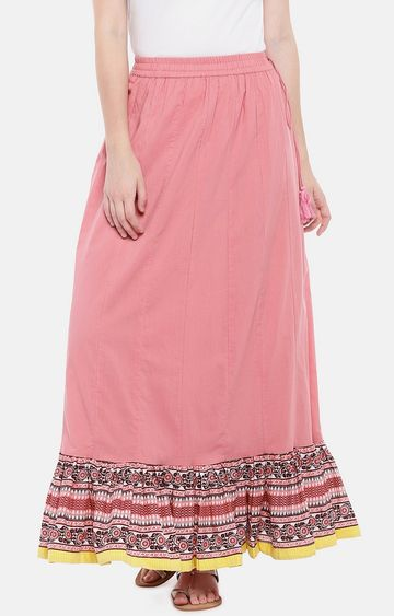 globus | Pink Printed Flared Skirt