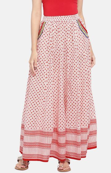 globus | Red Printed Flared Skirt