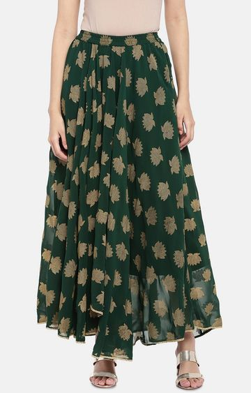 globus | Green Printed Flared Skirt