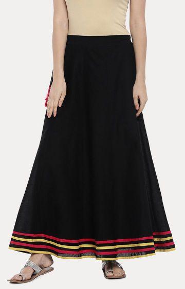 globus | Black Solid Pleated Skirt
