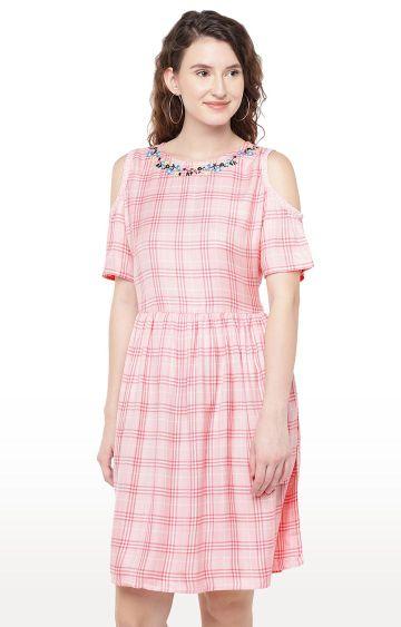 globus   Pink Printed Skater Dress