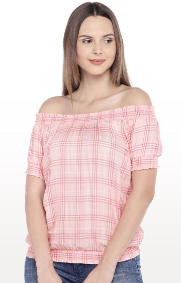globus | Pink Checked Blossom Top