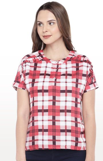 globus   Pink Checked Top