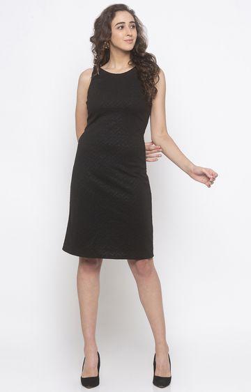globus | Black Solid Shift Dress