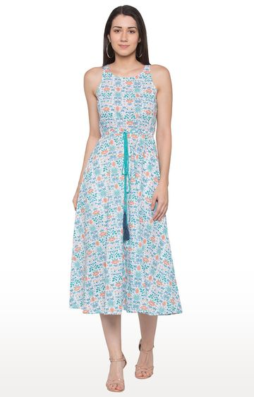 globus | Blue and White Floral Skater Dress