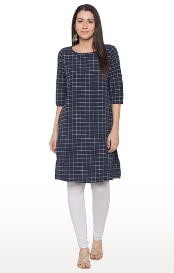 globus | Blue Checked Regular Kurti