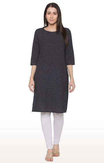 globus | Black Checked Regular Kurti