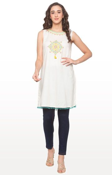 globus | Off White Embroidered Tunic