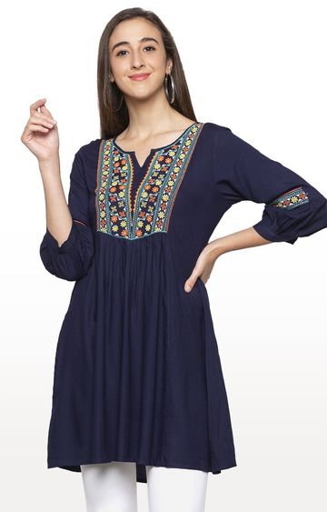 globus | Blue Embroidered Tunic