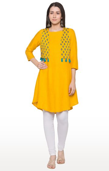 globus | Yellow Solid Regular Kurti