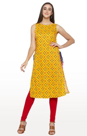 globus | Yellow Printed Kurta