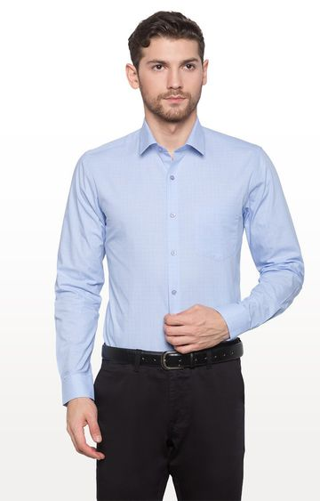 globus | Blue Checked Formal Shirt