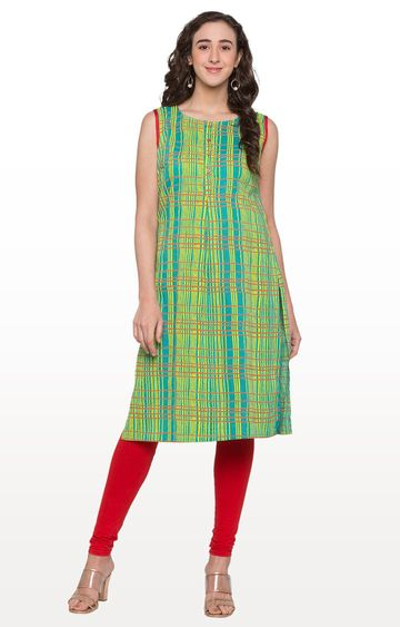 globus | Green Checked Kurta
