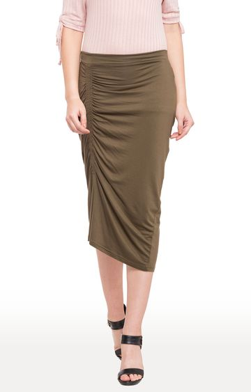 globus   Green Solid Ruched Detail Calf Length Skirt