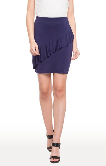 globus   Blue Solid Front Ruffled Mini Skirt