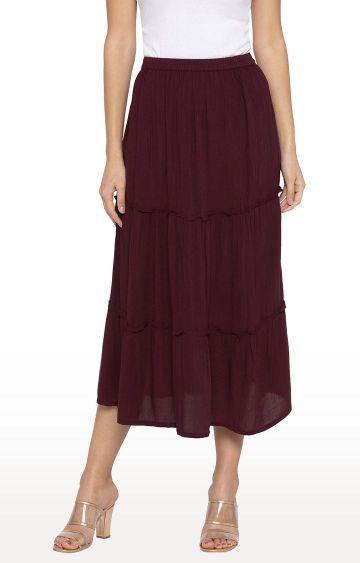 globus | Maroon Solid Flared Skirt
