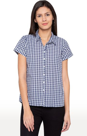 globus | Blue Gingham Checked Casual Shirt