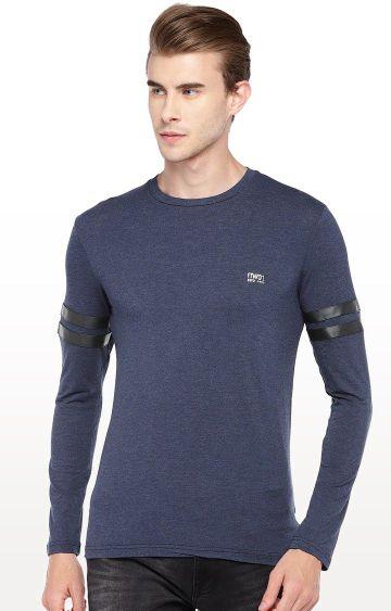 globus | Blue Solid Round Neck T-Shirt
