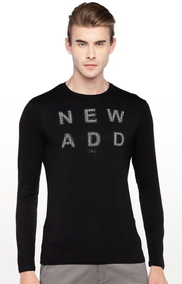 globus | Black Printed Round Neck T-Shirt