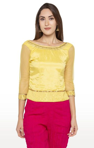 globus   Yellow Embroidered Top