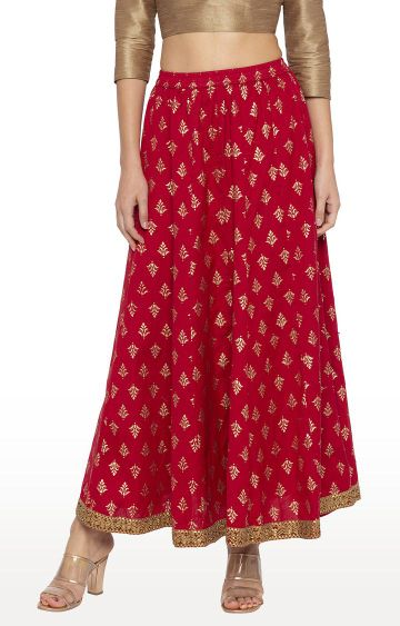 globus | Maroon Printed Flared Skirt