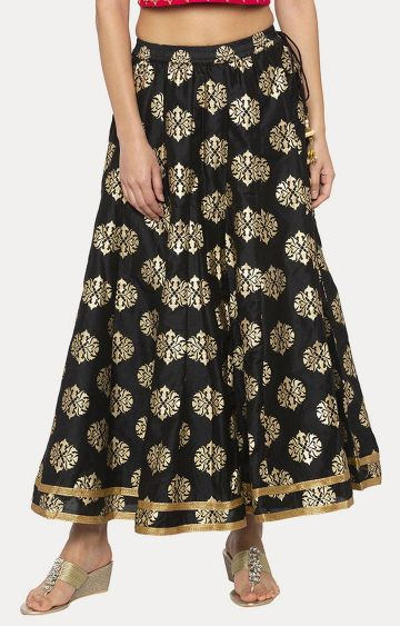globus | Black Printed Flared Skirt