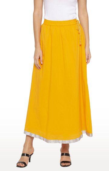 globus | Yellow Solid Flared Skirt