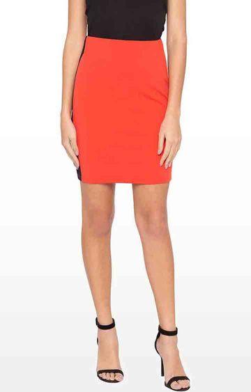 globus   Orange Solid Straight Skirt