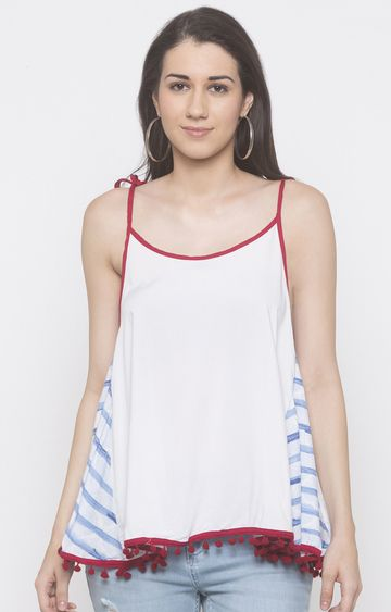 globus | White Solid Strappy Top