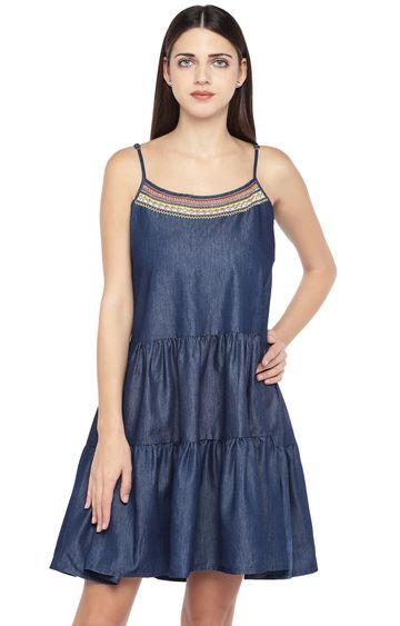 globus | Blue Solid Shift Dress