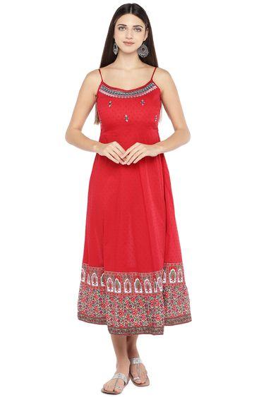 globus | Red Printed Skater Dress