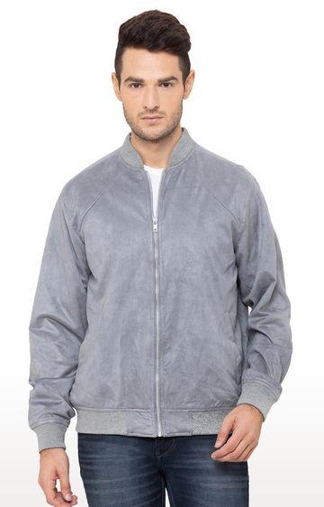 globus | Grey Solid Bomber Jacket