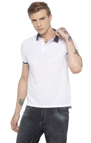 globus | White Printed Polo T-Shirt