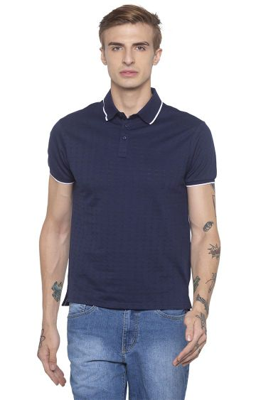 globus | Blue Printed Polo T-Shirt