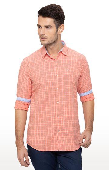 globus   Peach Checked Casual Shirt
