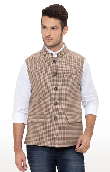 globus | Brown Checked Ethnic Jacket