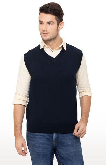 globus   Blue Solid Sweater