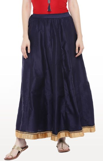 globus | Blue Solid Flared Skirt