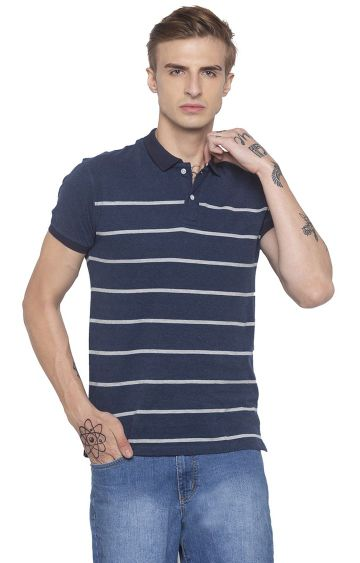 globus | Blue Striped Polo T-Shirt
