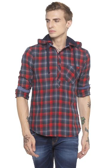 globus | Red Checked Casual Shirt