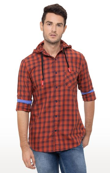 globus | Orange Checked Casual Shirt