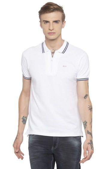 globus | White Solid Polo T-Shirt