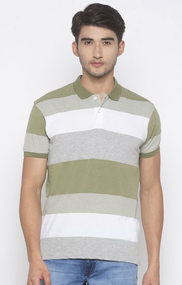 globus | Green Striped Polo T-Shirt