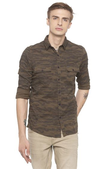 globus | Green Printed Casual Shirt