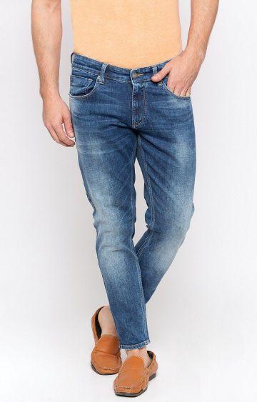 spykar   Spykar Mid Blue Solid Slim Thigh Ankle Length Fit Jeans