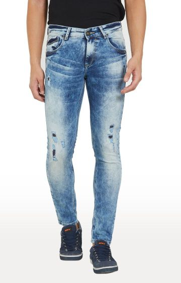 spykar | Spykar Light Blue Ripped Skinny Fit Jeans