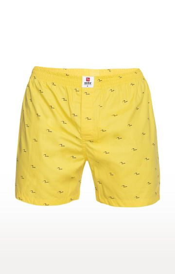 spykar   Spykar Yellow Printed Slim Fit Boxers