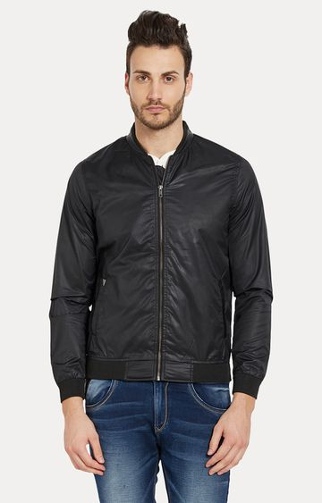 spykar | Spykar Black Solid Slim Fit Bomber Jackets