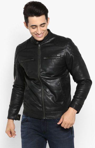 spykar   Spykar Black Printed Slim Fit Leather Jackets